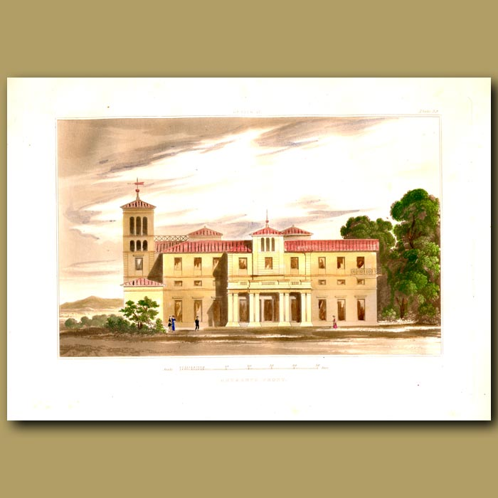 Antique print. Italian villa set in open parkland