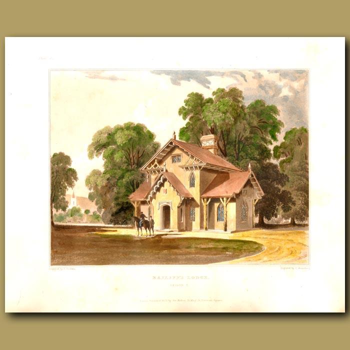 Antique print. Bailiff's lodge with parklands and a horseman