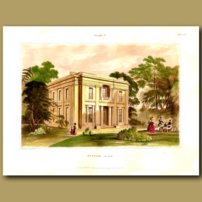 Antique print. Grecian villa set in imposing parkland