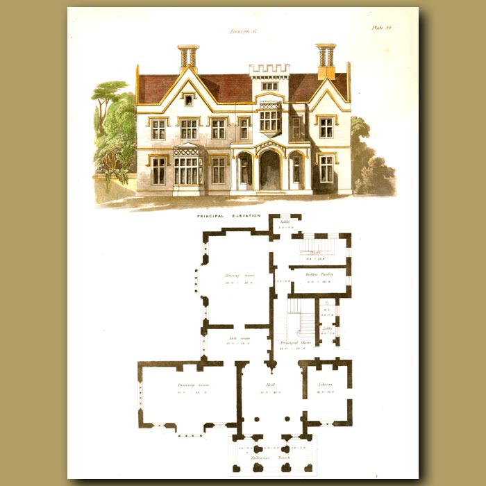 Antique print. Rectory house and floor plan of the house