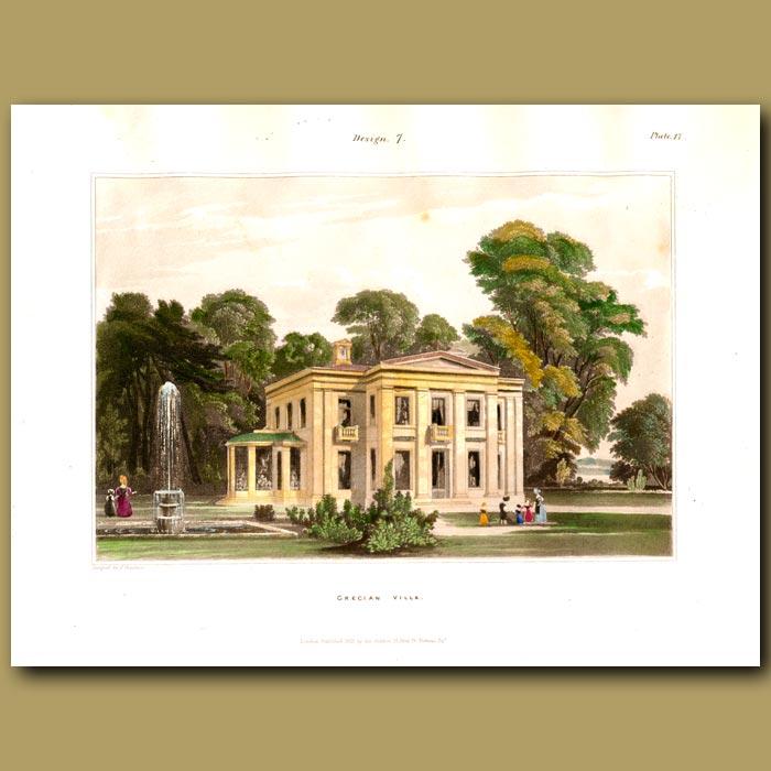 Antique print. Grecian villa in parkland with a fountain