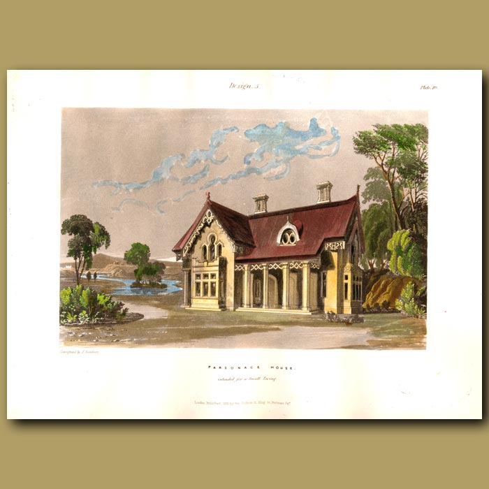 Antique print. Parsonage house set in grounds near a lake
