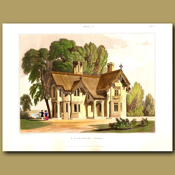 Antique print. Gardener's lodge set in grounds near a lake