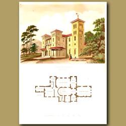 Imposing Italian villa and floor plan of the house