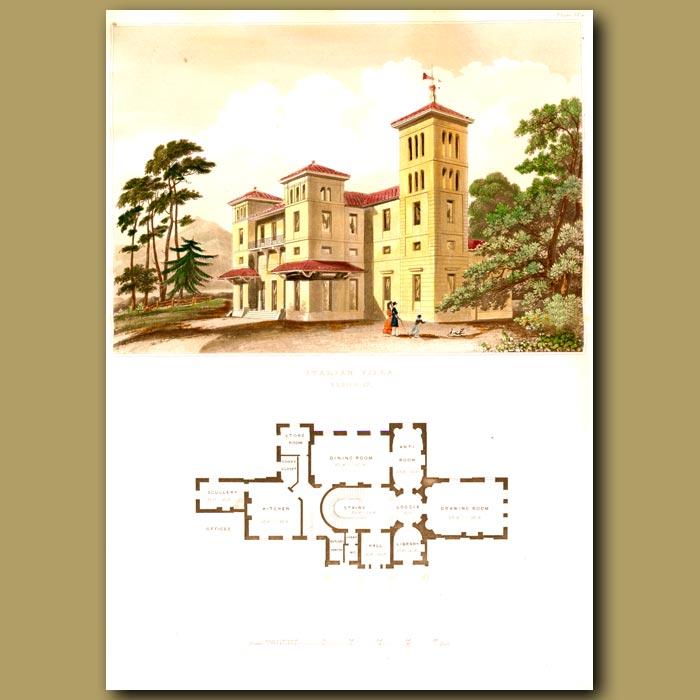 Antique print. Imposing Italian villa and floor plan of the house