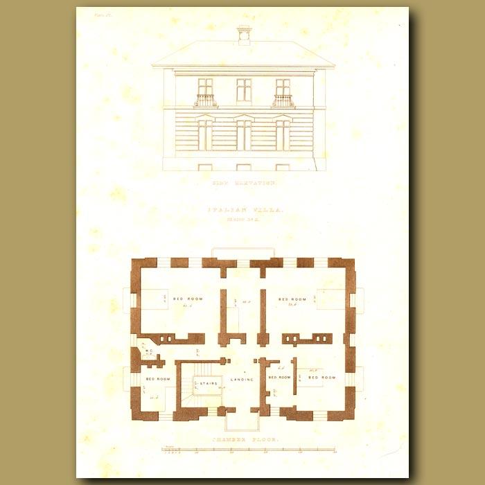 Antique print. Italian villa