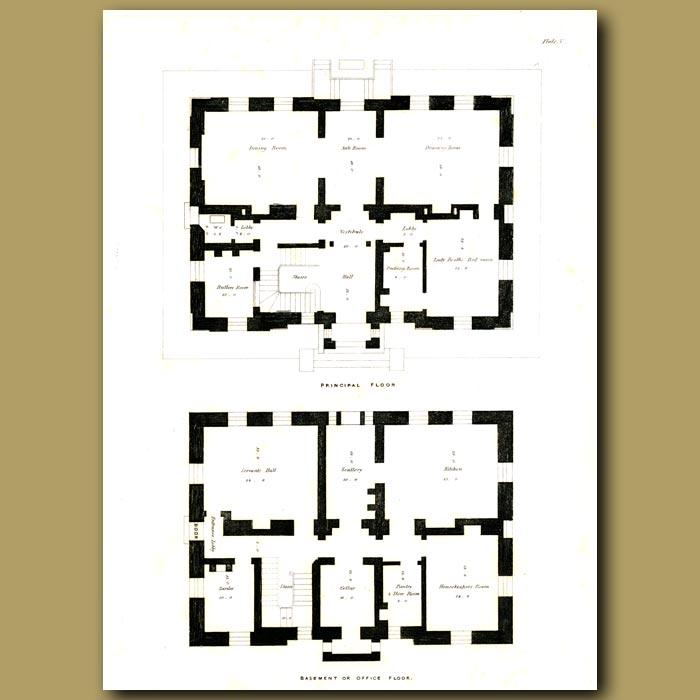 Antique print. Gothic villa