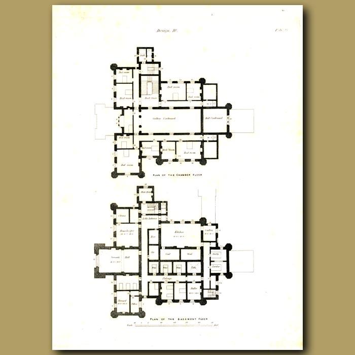 Antique print. Gothic mansion