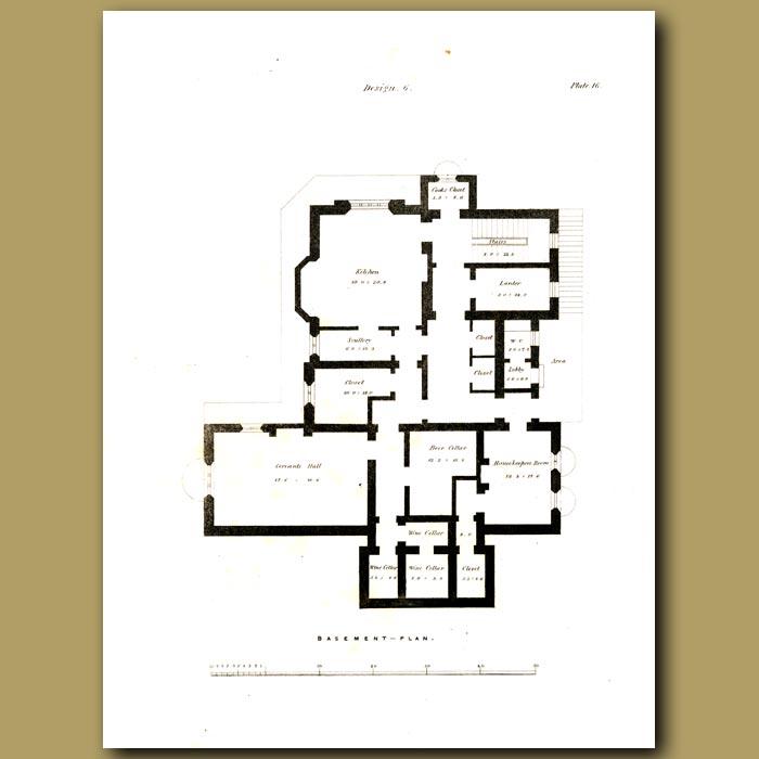 Antique print. Rectory house
