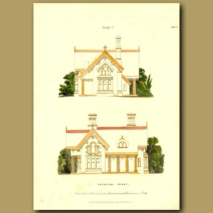 Antique print. Parsonage House and floor plan