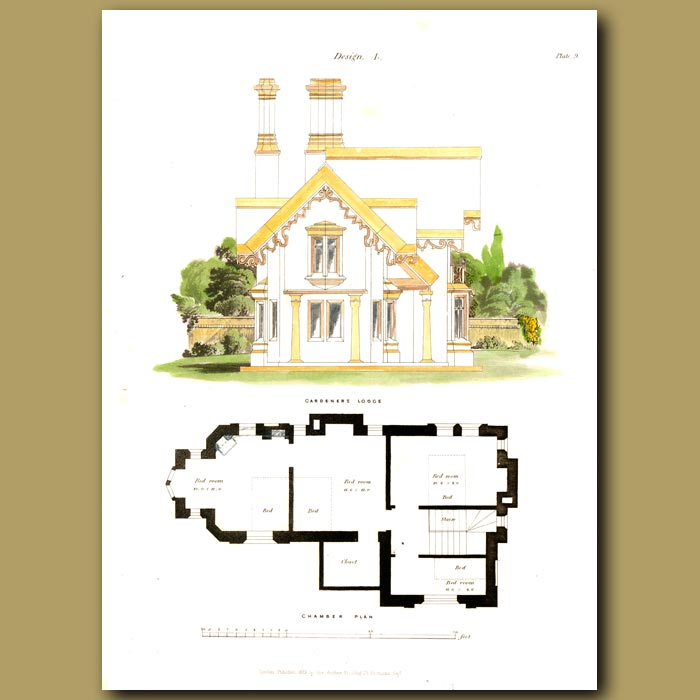 Antique print. Gardeners Lodge and floor plan