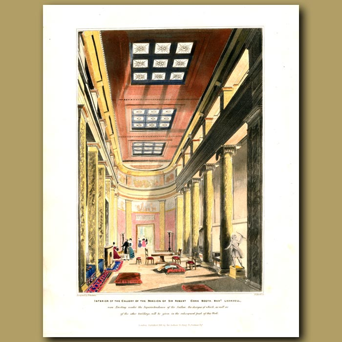 Antique print. Interior of the gallery of Sir Robert Gore Booth's mansion