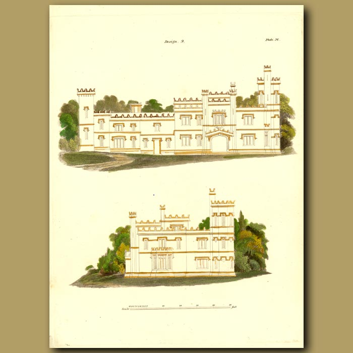 Antique print. Gothic marine villa (view of the front and side)