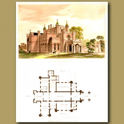 Gothic mansion and floor plan