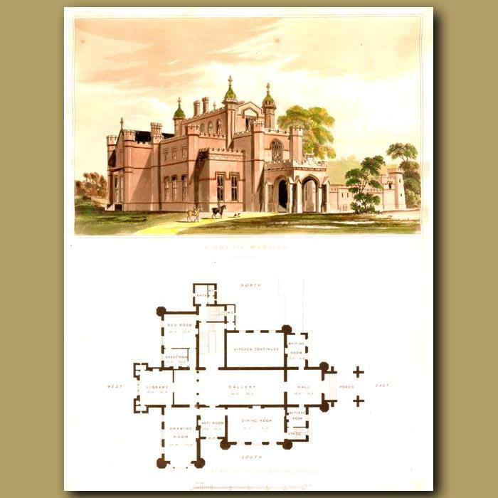 Antique print. Gothic mansion and floor plan