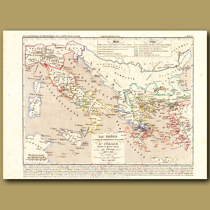 Antique print. Map of Greece and Italy at the time of Philippe and Alexander