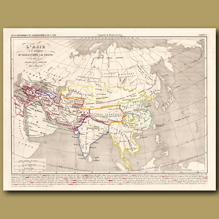 Antique print. Map of Asia at the time of Alexander the Great
