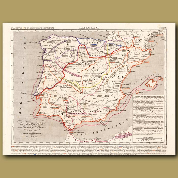 Antique print. Map of Spain after the invasion of the Barbarians