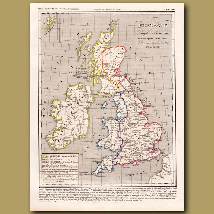 Antique print. Map of Britain, Kingdom of Anglo Saxons 600 AD