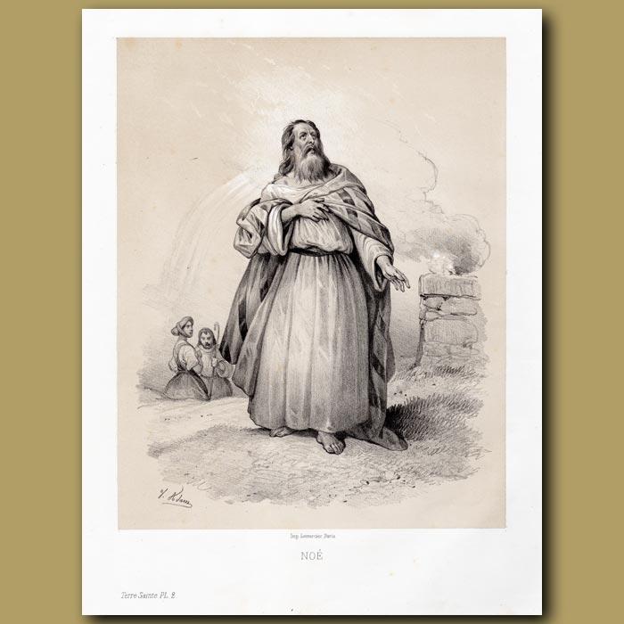 Antique print. Noah