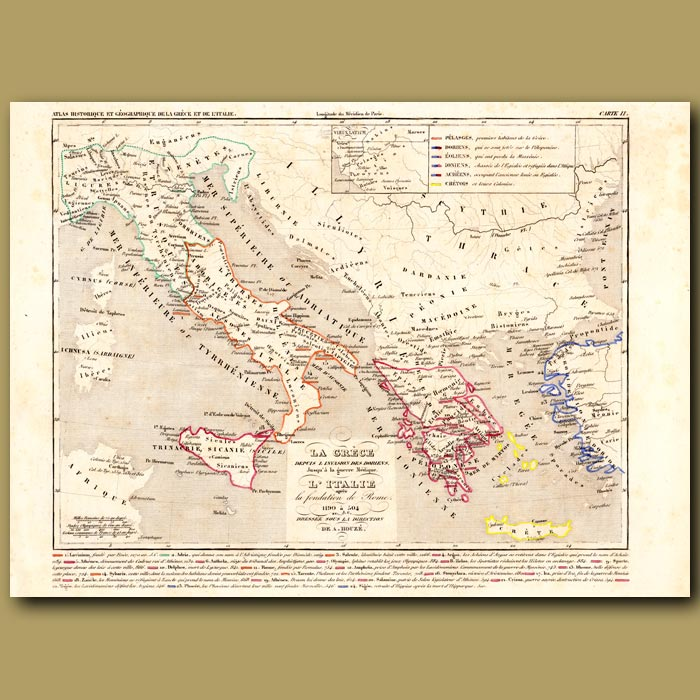 Antique print. Map of Greece and Italy AD1190