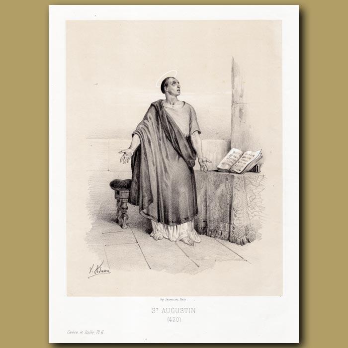 Antique print. St. Augustin 430 AD