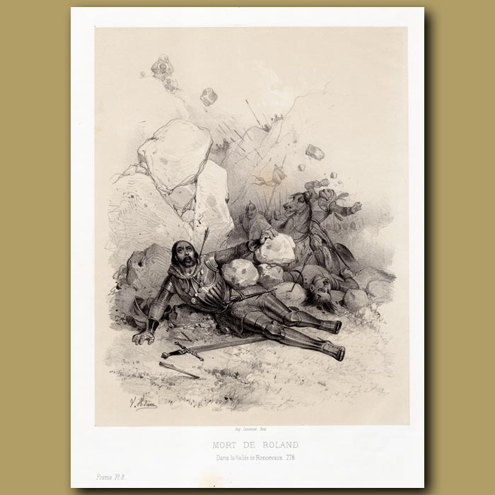 Antique print. Death of Roland 778 AD (nephew of Charlemagne)