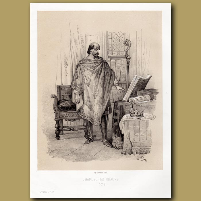 Antique print. Charles the Bald – King of the West Frankish Kingdom 851 AD