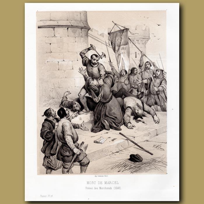 Antique print. Death of Marcel 1358 AD