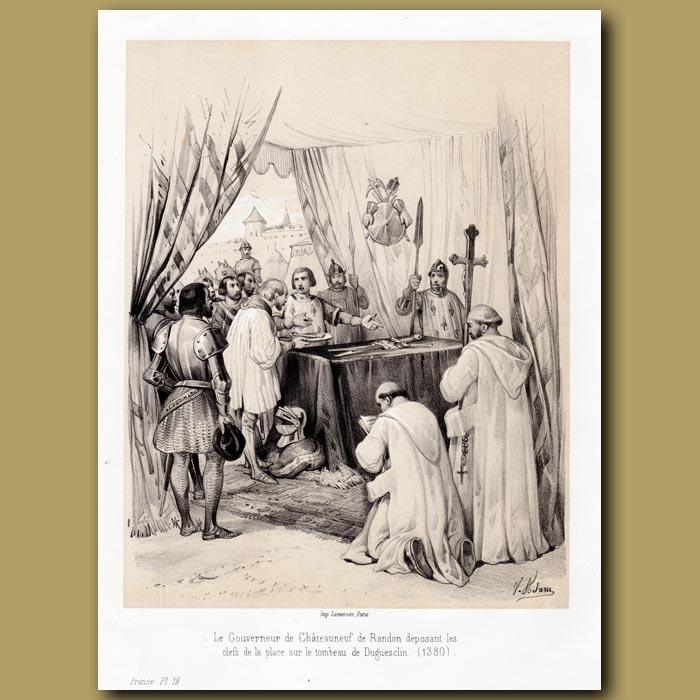 Antique print. Death of Turenne, French Commander under Louis IV