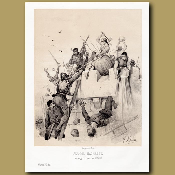 Antique print. Jeanne Hachette at the siege of Beauvais 1472 AD