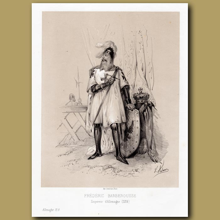 Antique print. Frederic Barberousse, Emperor of Germany 1152 AD