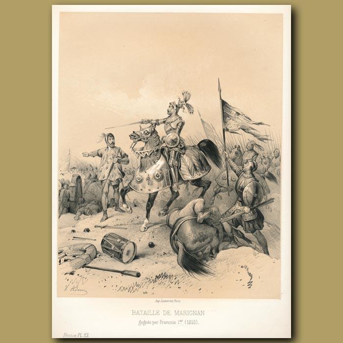 Antique print. Battle of Marignano