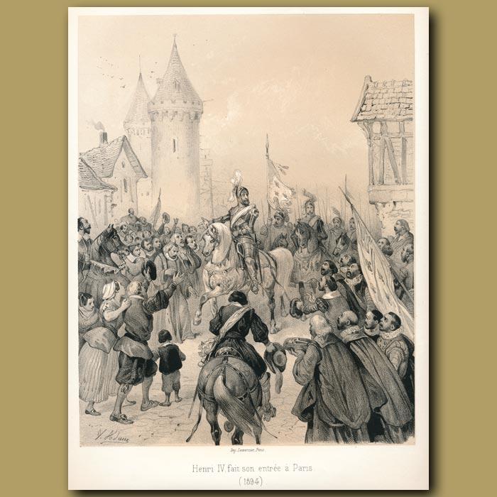Antique print. Henry IV's entry into Paris
