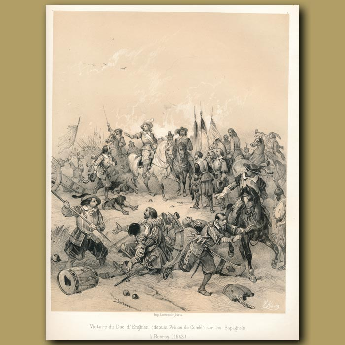 Antique print. Victory of the Duke of Enghiem against the Spanish