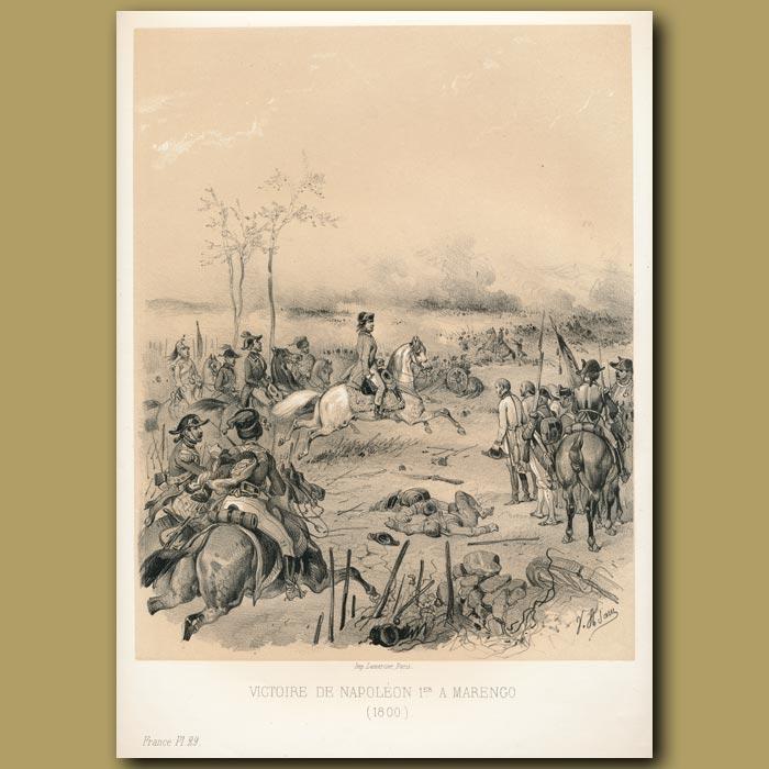 Antique print. Napoleon's victory at Marengo (1800)