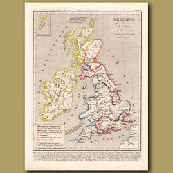 Map of Britain after the invasion of the Saxons