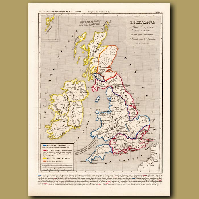 Antique print. Map of Britain after the invasion of the Saxons