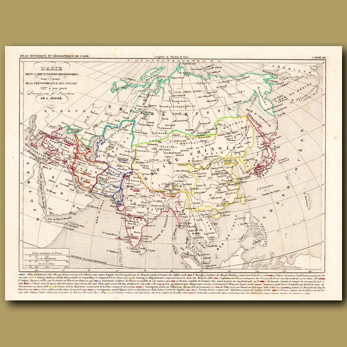 Antique print. Map of Asia after the death of Ghengis Khan