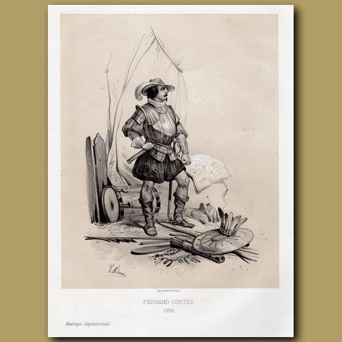 Antique print. Fernand Cortes – Duke of Braganza, Portugal 1519