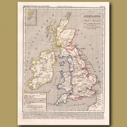 Map of Britain before the invasion of the Danes
