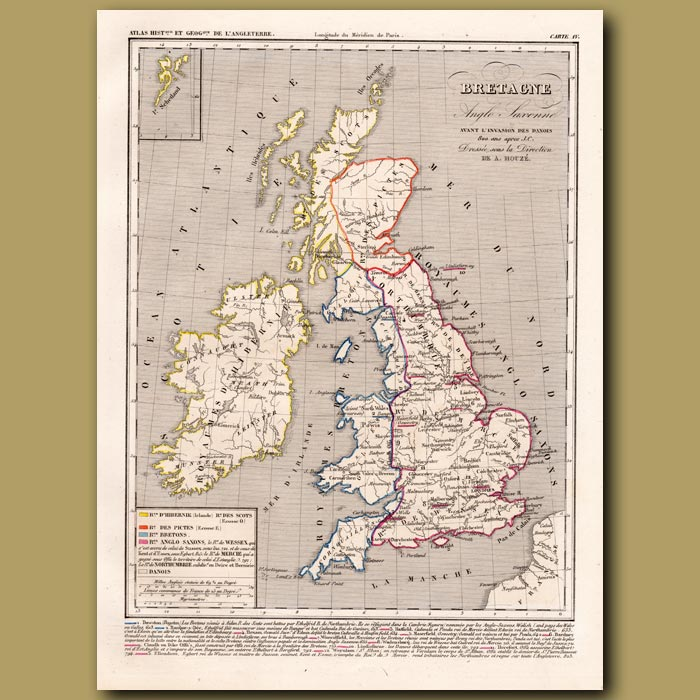Antique print. Map of Britain before the invasion of the Danes