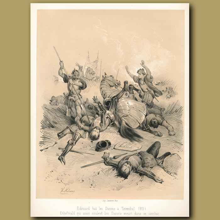 Antique print. Edward defeating the Danes (911)