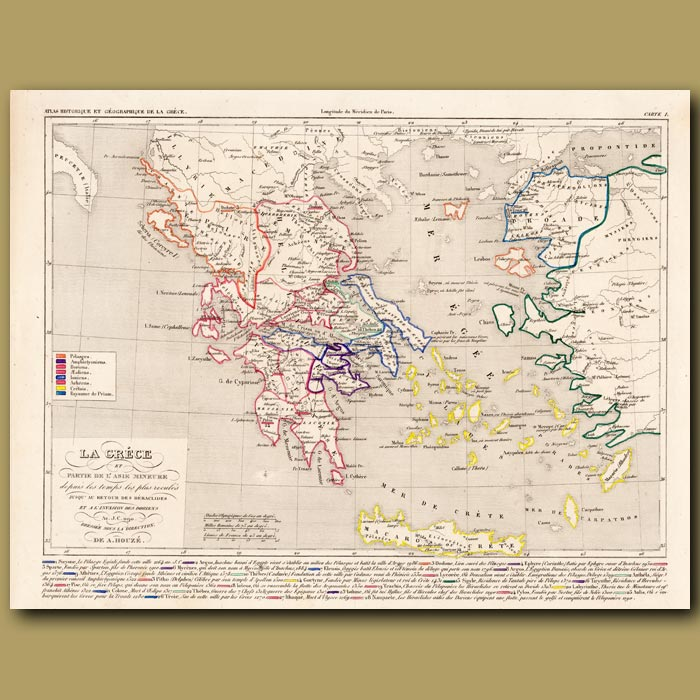 Antique print. Map of Greece and parts of Asia Minor