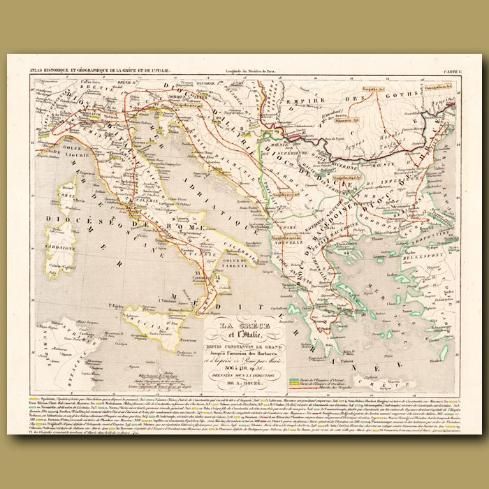 Antique print. Map of Greece and Italy since Constantin