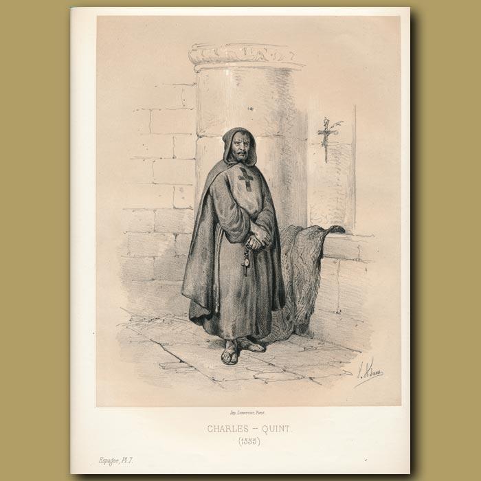 Antique print. Constantin II assasinated in his bath