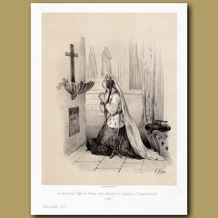 Antique print. Princess Olga of Russia