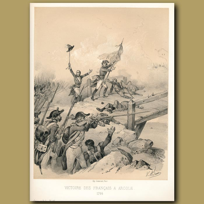 Antique print. Victory of the French (1796)
