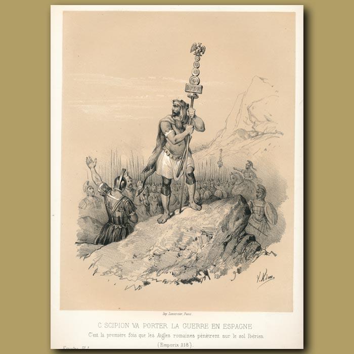 Antique print. Scipio invading Spain (218)