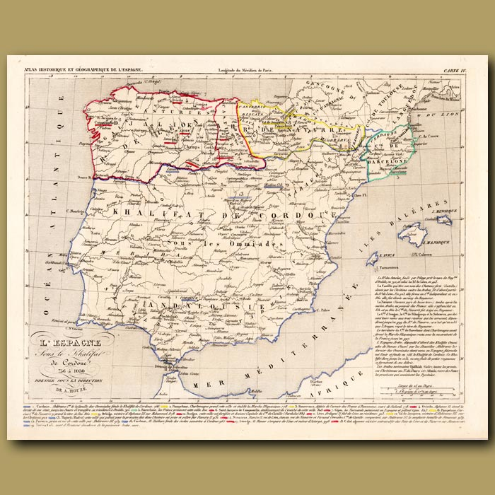 Antique print. Map of Spain under the rule of Khalifat